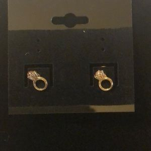Jewelry - Tiny Gold Rings With Rhinestones Earrings